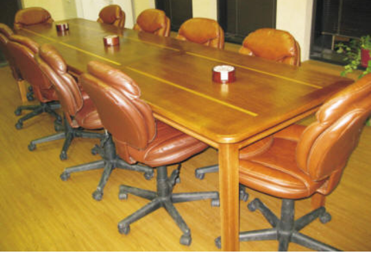 white oak, three section conference table. golden oak stain with satin lacquer finish.