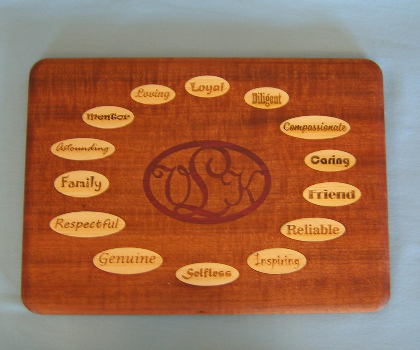 Cutting boards are fabricated from various hardwoods and designs may be laminated or specialty gifts. The boards are finished with food safe mineral oil to bring out the luster of the wood.