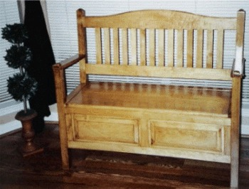 This is one of three benches with storage under the seat. Two of the benches were made of cherry for my daughters. The third, above, was made of maple for a nephew.