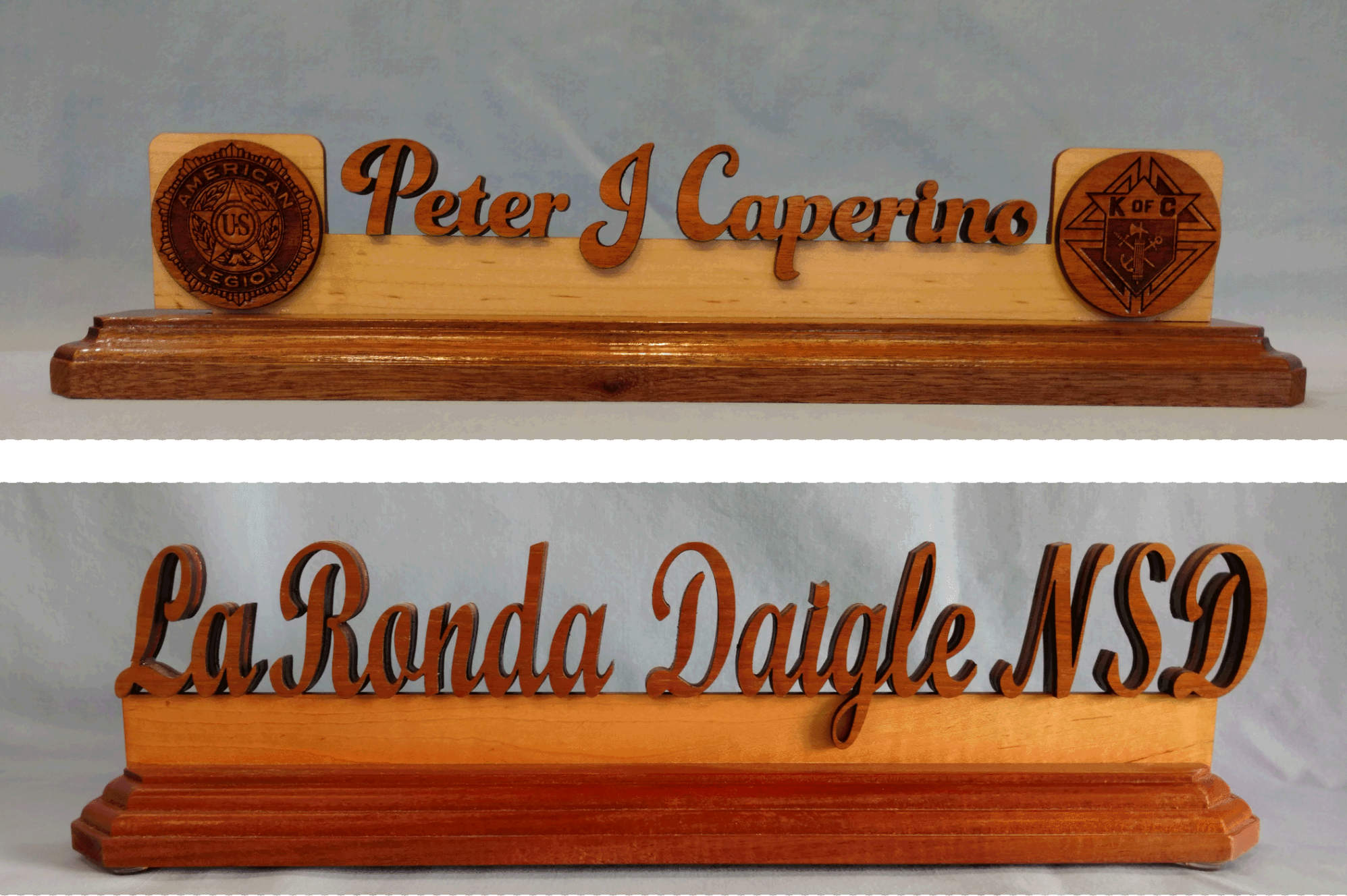 The Desk Name Plate is made from contrasting woods. A lighter wood is used as a support sandwiched between a darker wood. The base is either Mahogany or walnut. The woods used are laser engraved under the base.