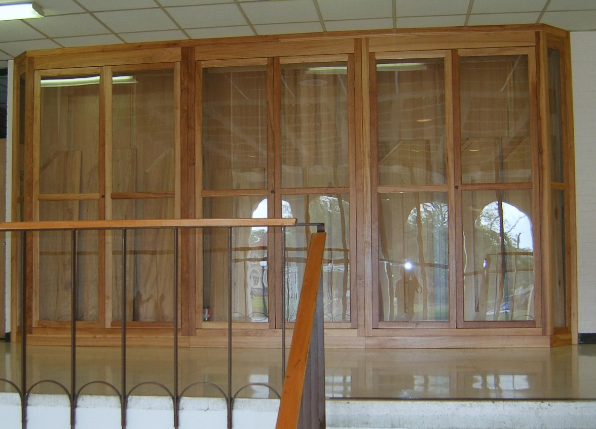 Trophy cases built for a local high school installed on the second floor. There is a handicap lift next to the stairs that was used to raise the cabinets to the second floor.