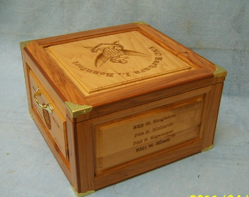 hickory/pecan hat box with personalized engraving on the side.